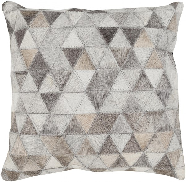 Trail Beige Gray Ivory Poly Leather Throw Pillow - 22x22x5 TR004-2222P