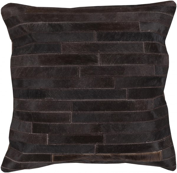 Trail Charcoal Black Down Leather Throw Pillow - 20x20x5 TR005-2020D