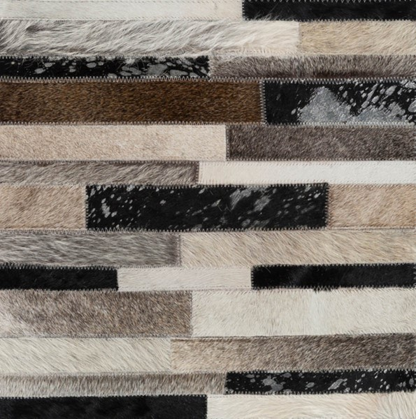 Surya Trail Black Dark Brown Ivory Hair On Hide Sample Area Rug - 18x18 TRL1120-1616
