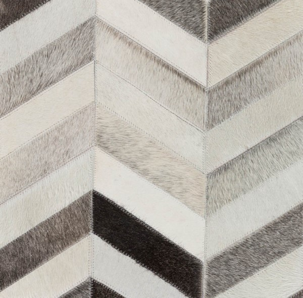 Surya Trail Ivory Gray Charcoal Hair On Hide Sample Area Rug - 18x18 TRL1129-1616