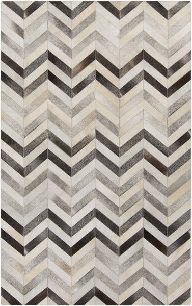 Surya Trail Ivory Gray Charcoal Hair On Hide Area Rug - 144x108 TRL1129-912