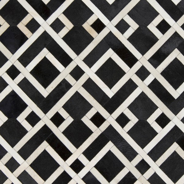 Surya Trail Black Cream Hair On Hide Sample Area Rug - 18x18 TRL1130-1616