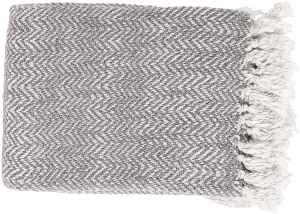 Trina Traditional Slate Ivory Charcoal Acrylic Polyester Throws TRR4001-5060