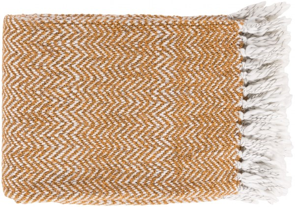 Trina Traditional Burnt Orange Ivory Charcoal Acrylic Polyester Throws TRR4002-5060