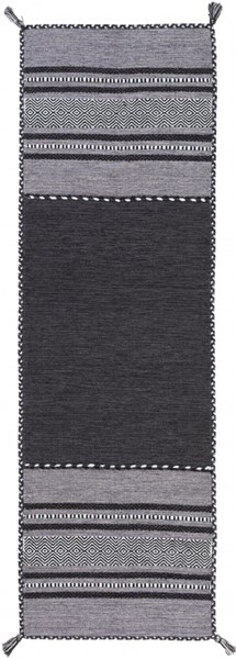 Trenza Light Gray Charcoal Charcoal Cotton Chenille Runner - 30 x 96 TRZ3000-268