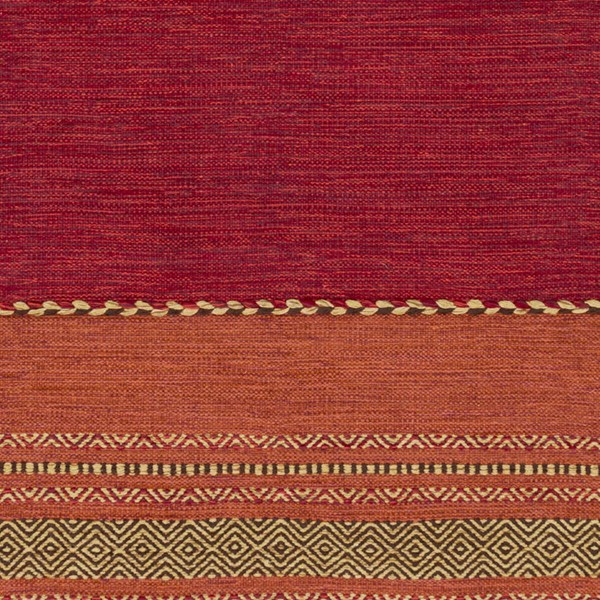 Surya Trenza Dark Red Burnt Orange Tan Cotton Chenille Sample Area Rug - 18x18 TRZ3002-1616