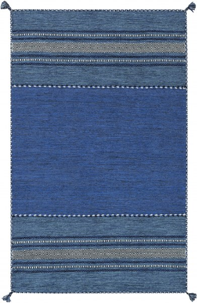 Trenza Sky Blue Black Cobalt Cotton Chenille Area Rug - 60 x 90 TRZ3003-576
