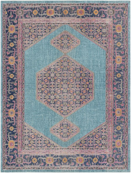 Surya Tessera Teal Light Gray Dark Blue Polypropylene Area Rug - 123x94 TSE1000-710103
