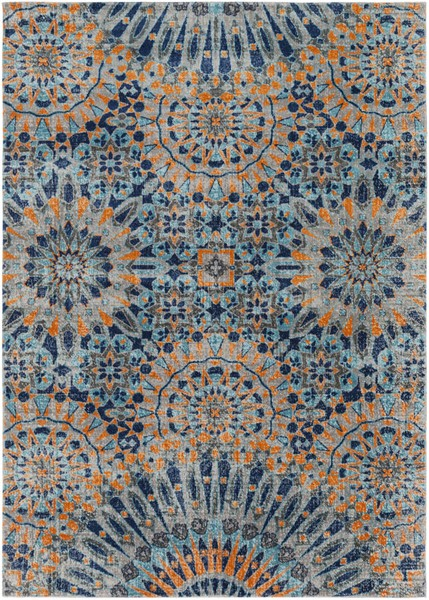Surya Tessera Light Gray Charcoal Burnt Orange Polypropylene Area Rug - 87x63 TSE1011-5373