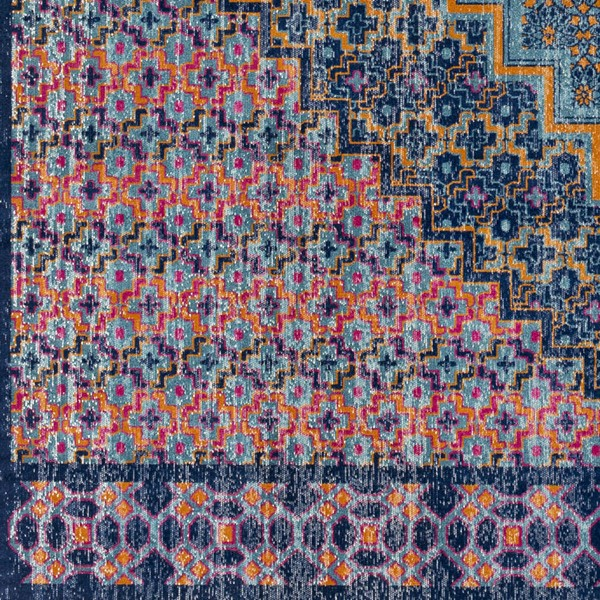 Surya Tessera Teal Dark Blue Burnt Orange Polypropylene Sample Area Rugs TSE1016-RUG-VAR