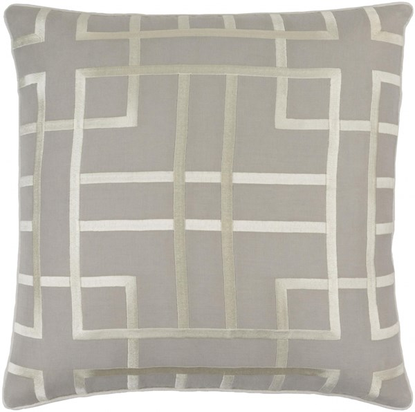 Tate Light Gray Beige Down Linen Cotton Throw Pillow - 22x22x5 TTE003-2222D