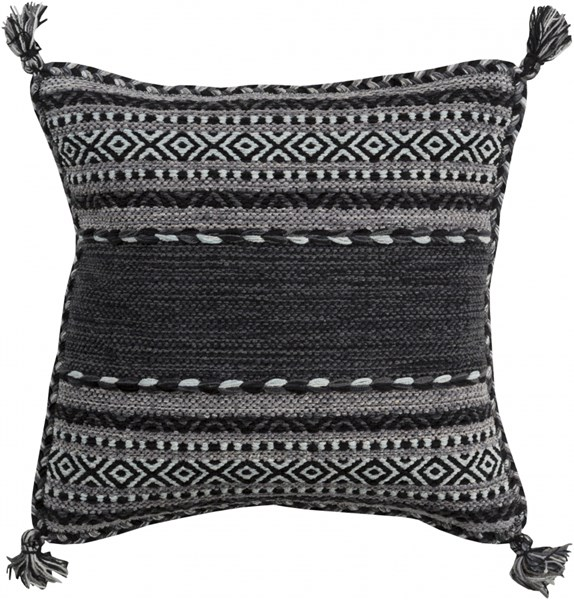 Trenza Pillow With Poly Fill In Charcoal Light Gray - 22 x 22 x 5 TZ001-2222P