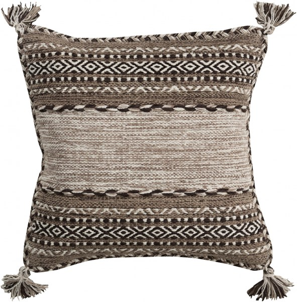 Trenza Pillow With Poly Fill In Taupe Black Gray - 18 x 18 x 4 TZ002-1818P
