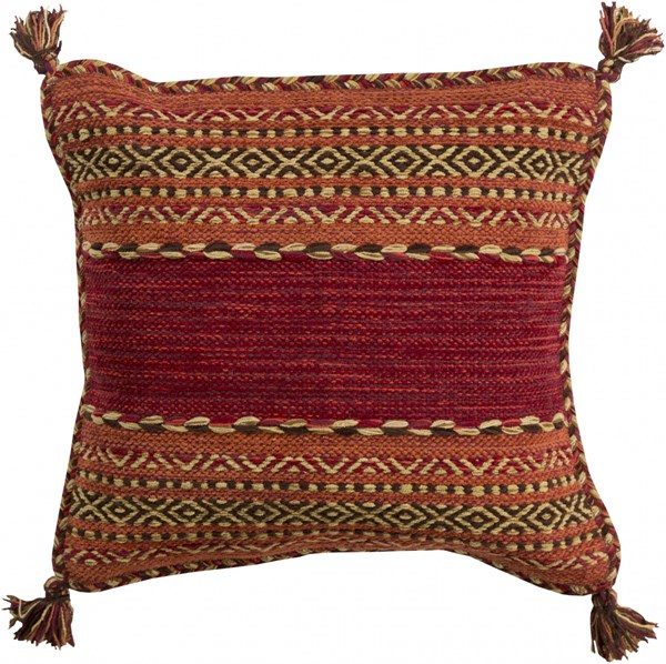 Trenza Pillow With Down Fill In Cherry Rust Gold - 22 x 22 x 5 TZ003-2222D