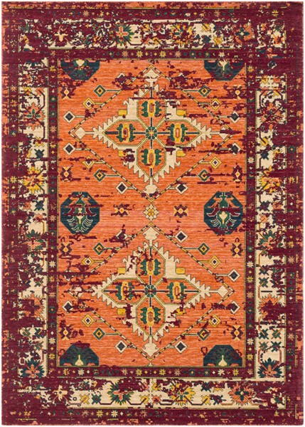 Surya Trailblazer Bright Orange Dark Red Green Wool Nylon Area Rug - 33x24 TZR1005-229