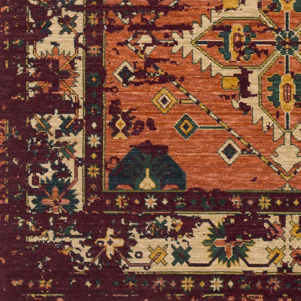 Surya Trailblazer Bright Orange Dark Red Green Wool Nylon Sample Area Rug - 18x18 TZR1005-1616