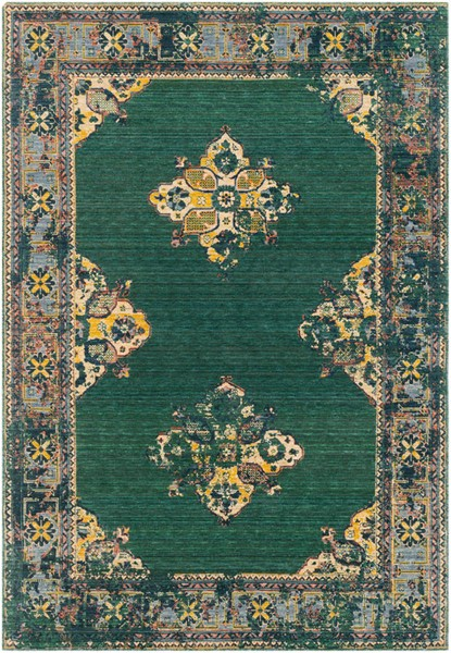Surya Trailblazer Dark Green Wheat Denim Wool Nylon Area Rug - 33x24 TZR1011-229