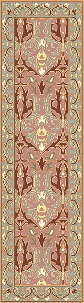 Uncharted Traditional Rust Moss Ivory Fabric Runners 12970-VAR1