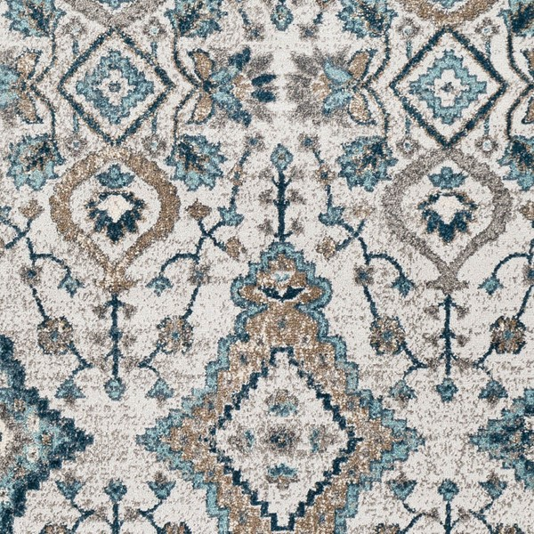 Surya Varanasi Teal Pale Blue Gray Polypropylene Sample Area Rug - 18x18 VAR2301-1616