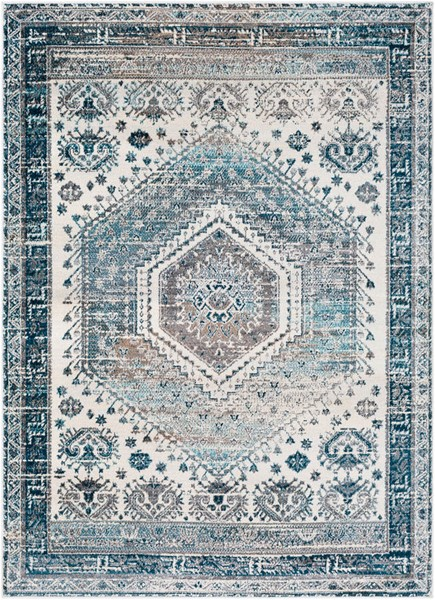Surya Varanasi Light Gray Teal Polypropylene Area Rug - 36x24 VAR2303-23