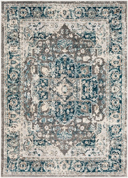 Surya Varanasi Teal Light Gray White Polypropylene Area Rug - 87x63 VAR2305-5373