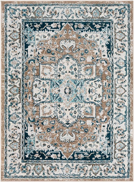 Surya Varanasi Pale Blue Camel Light Gray Polypropylene Area Rug - 36x24 VAR2306-23