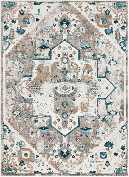 Surya Varanasi Camel Teal Light Gray Polypropylene Area Rug - 36x24 VAR2308-23