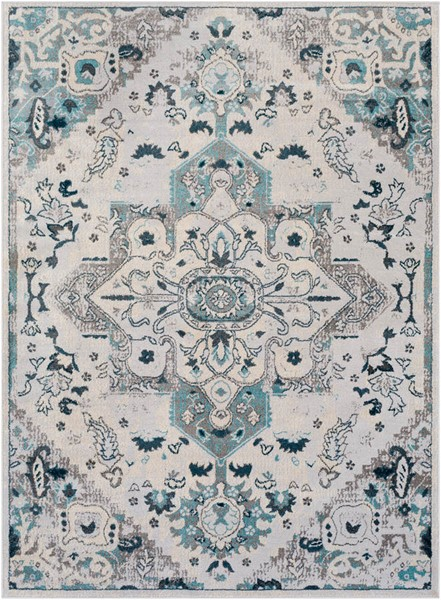 Surya Varanasi Dark Blue Light Gray Teal Polypropylene Area Rug - 36x24 VAR2313-23