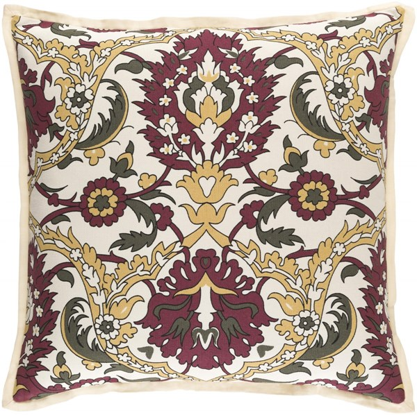 Vincent Gold Olive Ivory Poly Linen Cotton Throw Pillow - 20x20x5 VCT001-2020P