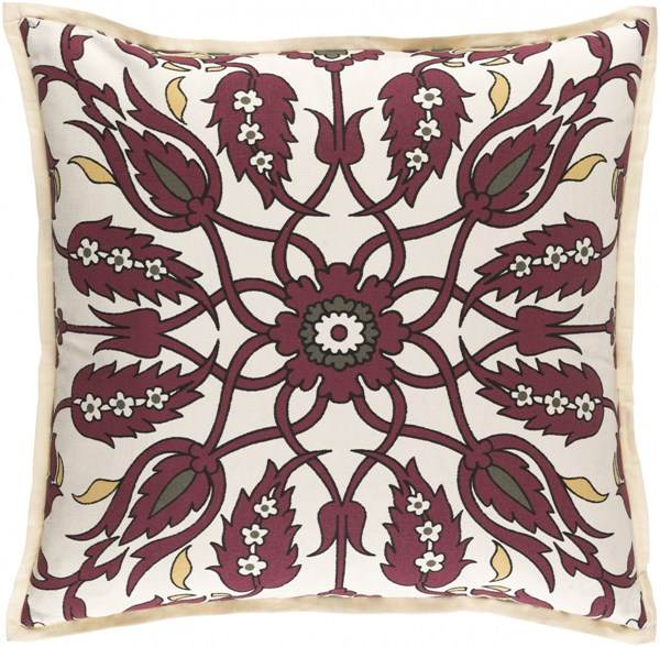 Vincent Burgundy Olive Ivory Down Linen Cotton Throw Pillow - 18x18 VCT005-1818D