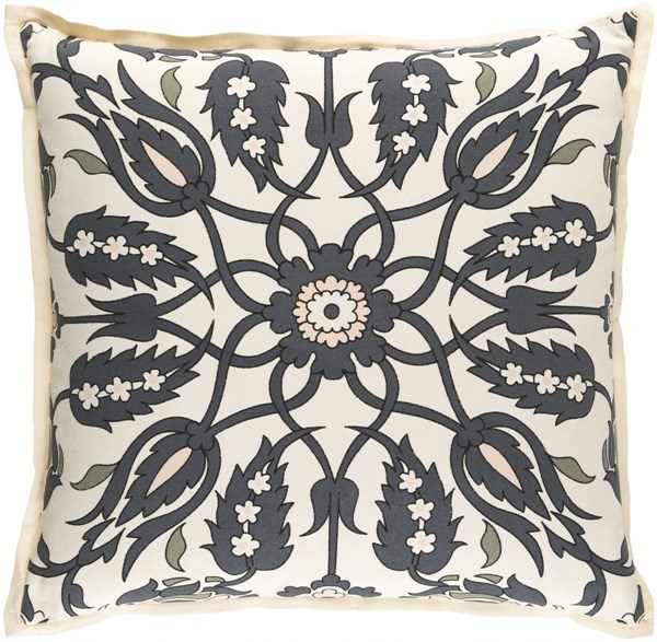 Vincent Charcoal Moss Ivory Poly Linen Cotton Throw Pillow - 20x20 VCT006-2020P