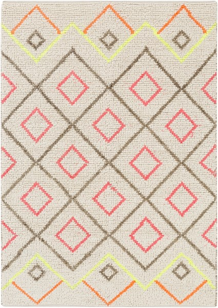 Verona Ivory Poppy Olive Pink Wool Jute Polyester Area Rug - 60 x 90 VNA4000-576