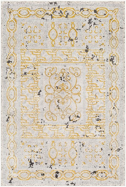 Surya Venezia Mustard Bright Orange Gray Polyester Polypropylene Area Rug - 87x63 VNZ2307-5373