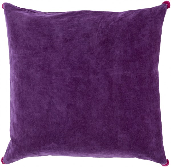 Velvet Poms Violet Magenta Poly Cotton Throw Pillow - 18x18x4 VP002-1818P