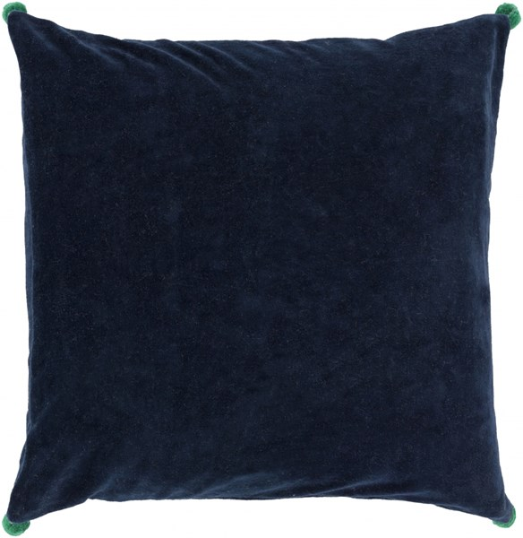 Velvet Poms Navy Green Poly Cotton Velvet Throw Pillow - 18x18x4 VP004-1818P