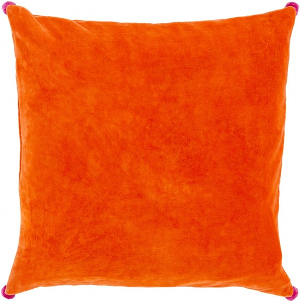 Velvet Poms Tangerine Hot Pink Down Cotton Throw Pillow - 22x22x5 VP005-2222D