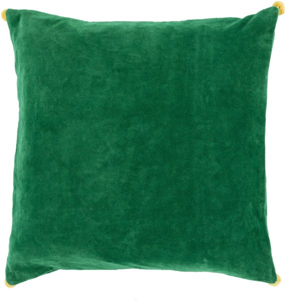 Velvet Poms Green Sunflower Poly Cotton Throw Pillow - 22x22x5 VP006-2222P