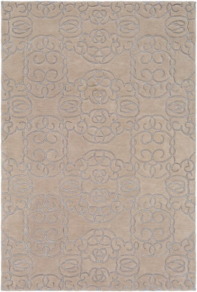 Surya Vernier Cream Light Gray Wool Polyester Area Rug - 120x96 VRN1002-810