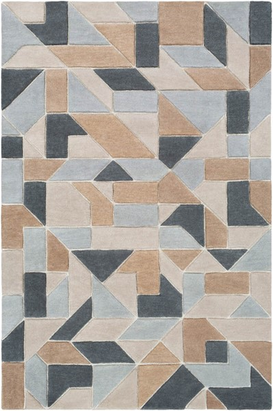 Surya Vernier Tan Light Gray Khaki Wool Polyester Area Rug - 90x60 VRN1014-576