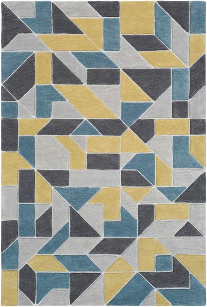 Surya Vernier Olive Teal Charcoal Wool Polyester Area Rug - 120x96 VRN1015-810