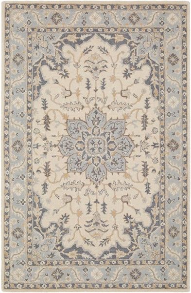 Surya Viva Light Gray Denim Beige Wool Area Rug - 90x60 VVA1003-576