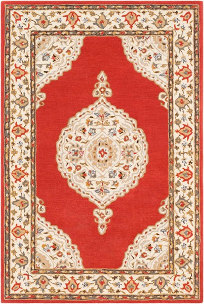 Surya Viva Dark Red Cream Brown Wool Area Rug - 90x60 VVA1005-576