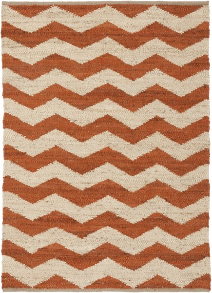 Wade Contemporary Rust Beige Fabric Hand Woven Area Rug WAD4002-576