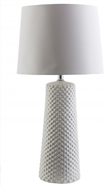 Wesley White Ceramic Linen Table Lamp - 14x28.25 WAS147-TBL
