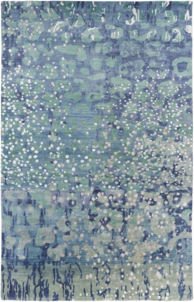 Watercolor Sea Foam Sky Blue Gray Wool Area Rug - 60 x 96 WAT5005-58