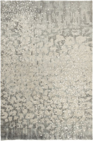Watercolor Charcoal Gray Ivory Moss Wool Area Rug - 60 x 96 WAT5011-58