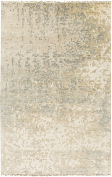 Watercolor Beige Olive Ivory Wool Area Rug - 60 x 96 WAT5014-58