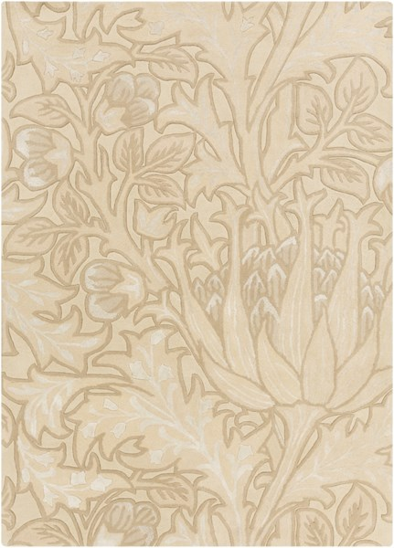 William Morris Beige Ivory Taupe Wool Area Rug - 60 x 96 WLM3002-58