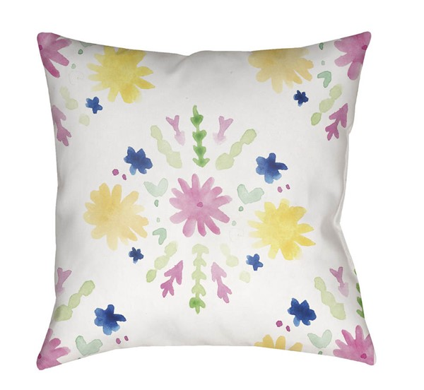 Surya Flores Burst White Pink Pillow Cover - 18x18 WMAYO018-1818