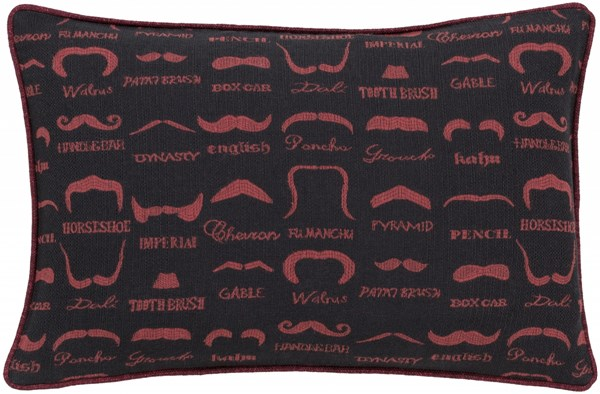 Wax That Stache Eggplant Black Poly Polyester Lumbar Pillow - 19x13 WTS002-1319P